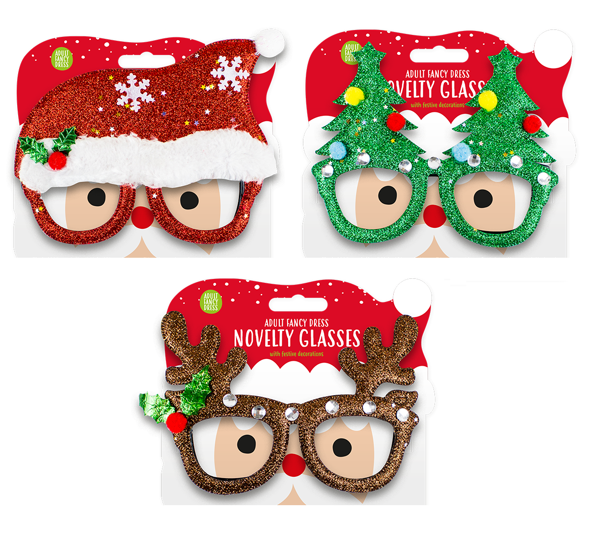 Novelty Christmas Glasses Xmas Party Glittery Sparkly Sunglasses Fun Festive