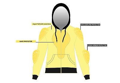 Mens Motorcycle Hoodie Fully Reinforced DuPont™ KEVLAR® Armid Fibre CE Armoure