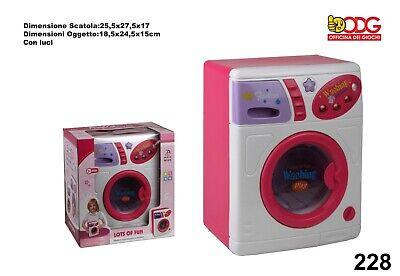 LAVATRICE GIOCATTOLO ROSA LAVA ASCIUGA con luci CM. 24 X 19 giocattolo bambina 7