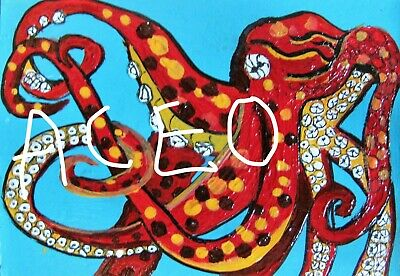 """A871    Original Acrylic Aceo  Painting By Ljh        """"Octopus"""" 2"""