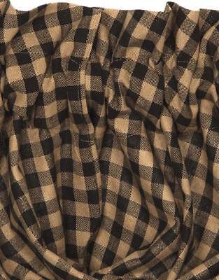 "Black & Khaki Tan Check Countrytyle Lined 100% Cotton Balloon Valance 60"" Wide 2"