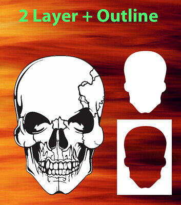SKULL 14 2 Layer Airbrush Stencil Large, Small, or Double ...