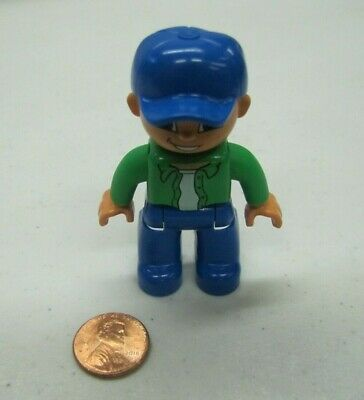 "LEGO DUPLO MAN CONSTRUCTION WORKER in ORANGE VEST /& CAP 2.5/"" FIGURE Rare #2"