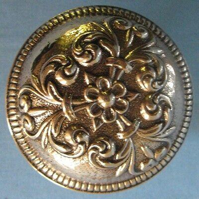 Antique Solid Cast Brass Door Backplate & Knob Victorian Design 3