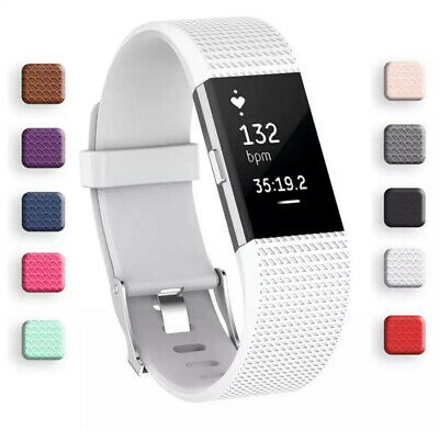For Fitbit Charge 2 Bands Replacement Sport Strap Band Soft Silicone Adjustable 9
