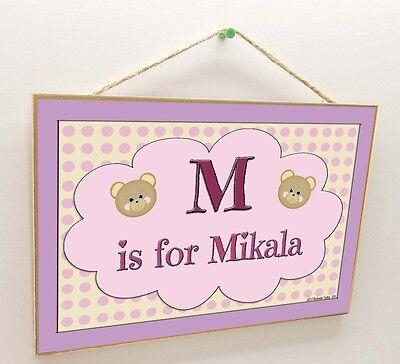 "Personalized Teddy Bear Faces Name Kids Room Baby Nursery 7"" x 10.5"" SIGN Plaque"