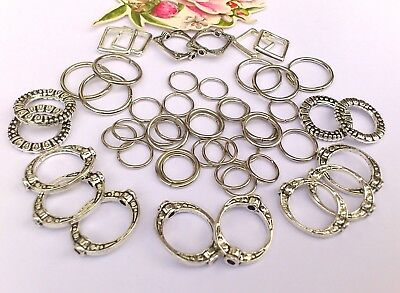 50 x Fab Silver Ornate Oval / Square Bead Frames (22) & Jump Rings 10/12mm*