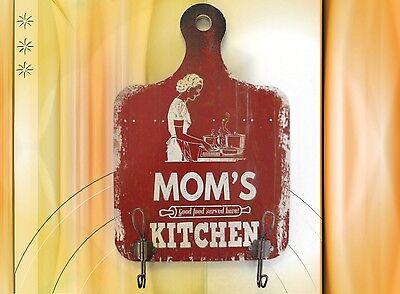 Garderobe Wandhaken +Schild Holz Mom's Kitchen Garderoben Haken Vintage Ästhetik 5