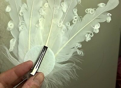 white feather fascinator millinery hair clip wedding piece ascot race dance 3