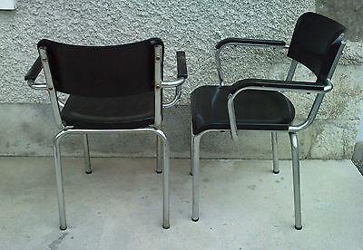 paire de fauteuils rene HERBST bakelite NOIR tubulaire milieu XX eme siecle 8