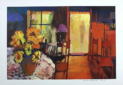 "MARTIN DECENT ""Caf? Morning"" flowers SIGNED LTD EDITION SIZE:42cm x 60cm NEW 2"
