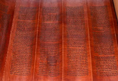 COMPLETE RARE HANDWRITTEN Torah Bible Scroll Deer Skin 250 Yrs Yemen