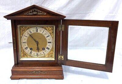 ~ Antique Architectural LENZKIRCH Walnut TING TANG Bracket Mantel Clock WORKING 5