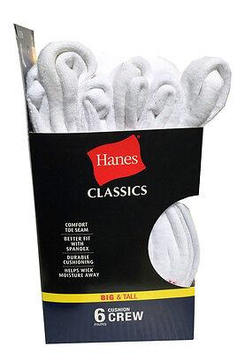 Hanes Men's BIG & TALL 6 paris cushion Crew white socks fit shoe size 12-14 4