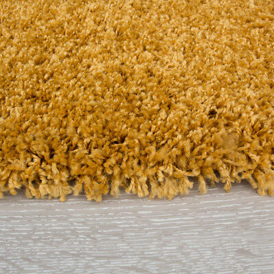 New Trendy Affordable Nordic Ochre Mustard Shaggy Thick Living Room Large Rug 5