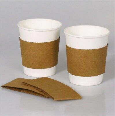 100 ct. 10 - 20 Oz. Eco Disposable Brown Coffee Cup Sleeves / Jacket / Clutch 2
