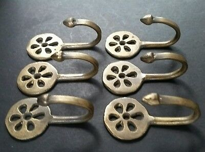 """6 Brass Antique Style Small Single Coat Hooks Floral Daisy Ornate 2 3/8""""  #C5"""