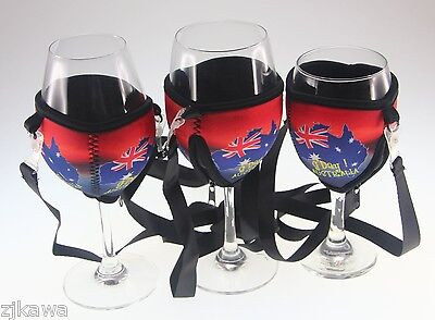 4x Wine Glass Cooler Insulator Holder with Lanyard AUSTRALIA Souvenir 9