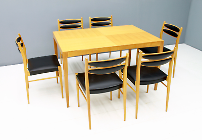 60er Years Dining Area Table & 6 Chairs Cherry & Leather Table Dining Room 60s 8