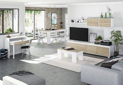 Mesa consola escritorio, mesa extensible, mesa para despacho, Blanco y Roble 5