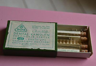 antike Hona Dental Kanülen zur Fischer Spitze Verpackung Schachtel Flacons 7