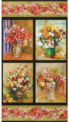 Classic Paintings Floral Quilting Fabric Panels Robert Kaufman Renoir Collection