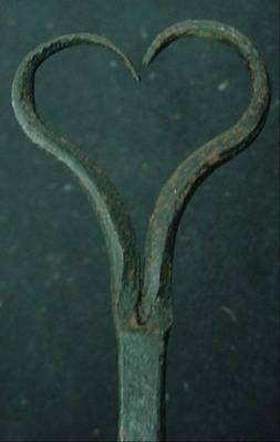 "Architectural Antique Blacksmith Made Heart & Rat Tail Hook 12"" Long Hardware 6"