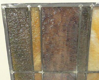 GEOMETRIC RECTANGULAR LEADED-STAINED GLASS WINDOW~Art Deco 22x15~HEAVY OBSCURITY 3