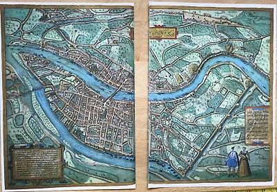 Old Antique Historic Map Lyon, France: 1572 Braun & Hogenberg REPRINT 1500's 8