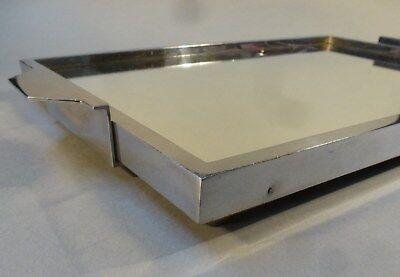 Original Art Deco Servier Tablett Metall Chrom Spiegel groß 46cm x 27cm um 1930
