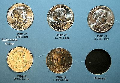 SBA Dollar Complete 11 coin P,D/& S Set 1979-1999  $1 Susan B Anthony