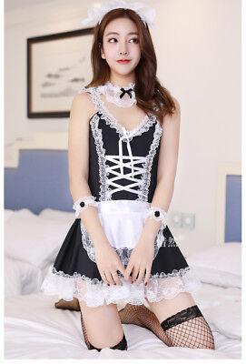 Costume Completo Cameriera Maid Serva Vestito Calze Rete Sexy Completino Abito 8