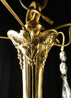 Antique French Louis XV style bronze and glass chandelier 2 • CAD $620.83