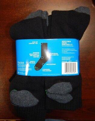 Member/'s Mark Men Crew Socks 10 Pair 75/% Cotton Sizes 6-12 BLACK MADE IN USA