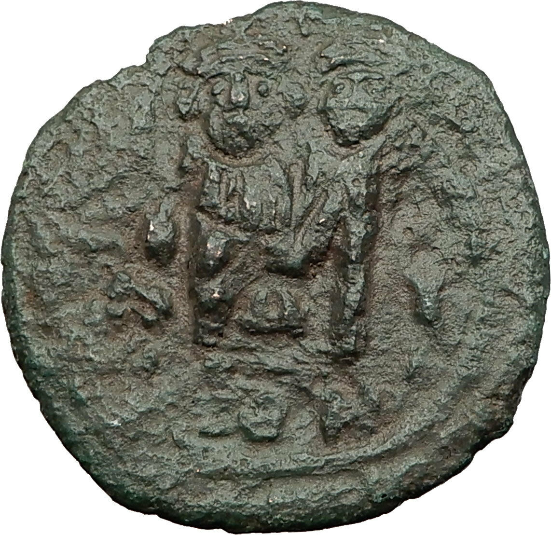 HERACLIUS & Hr Constantine 631AD Sicily Countermark Follis Byzantine Coin i59266 2
