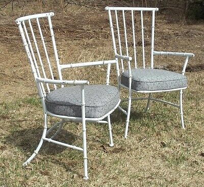 PAIR OF EARLY 20th CENTURY WINDSOR IRON FAUX BAMBOO TURNED REGENCY GARDEN CHAIRS 2
