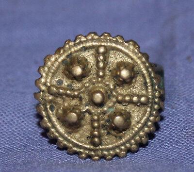 Antique Medieval crusader bronze ring 6
