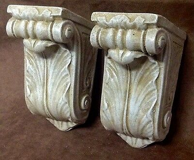 Antique Finish Shelf Acanthus Leaf Wall Corbel Sconce Bracket Pair 3