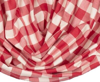 "60"" W Red & White Buffalo Check Balloon Window Valance Country Farmhouse Annie 3"