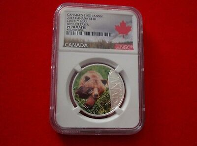 2017 CANADA $10 - Grizzly Bear - Fine Silver Coin - NGC PF 70 ULTRA CAMEO FR 2