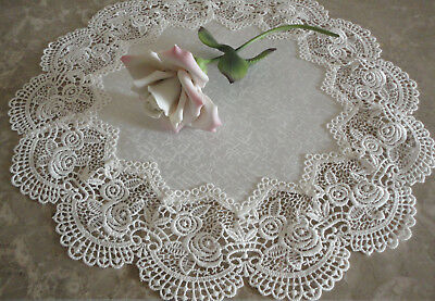 """Classic Rose Lace Doily European Round 16"""" Table Topper Antique White 5"""