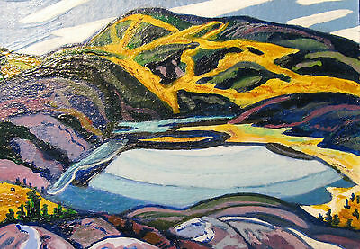 """A809          Acrylic Art Aceo Painting By Ljh      """"Snowy Landscape"""" 3"""