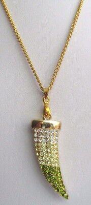 Chaîne pendentif bijoux corne d'abondance couleur or cristal diamant vert 3277 4