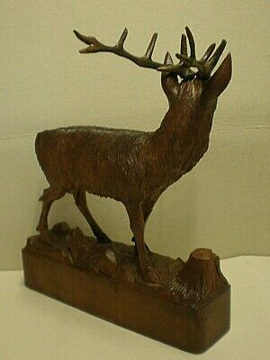 Large Antique Black Forest Stag Swiss Carving Signed 5