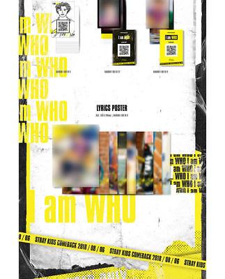 STRAY KIDS [I AM WHO] 2nd Mini Album RANDOM CD+PhotoBook+3p Card+Poster(On)+GIFT 7