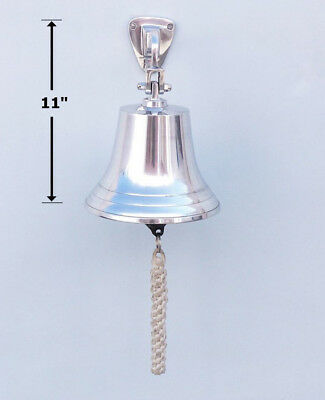 """Chrome Plated Solid Aluminum Ship's Bell 7"""" Nautical Hanging Wall Decor New 2"""