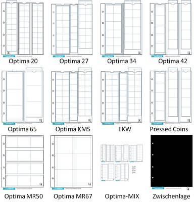 Leuchtturm Optima Münzhüllen 5er-Pack aussuchen 20 27 34 42 50x50 65 67x67 KMS 2