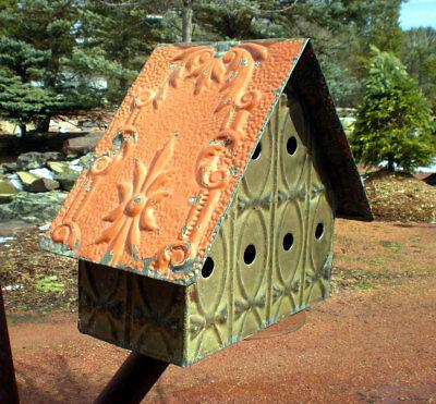 24 x 48 Antique Ceiling Tin Tile Pumpkin Cabinet Doors Shabby Chic Cottage