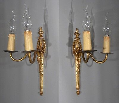 Vintage French Gilded Bronze Sconce, Neoclassic Style, Laurel Crown 4