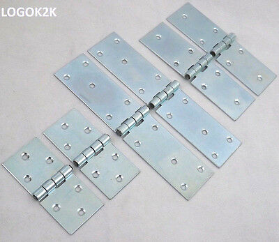 2 pcs of Backflap Heavy Duty Strap Hinges Zinc Plated Tee Door Gate Box Shed